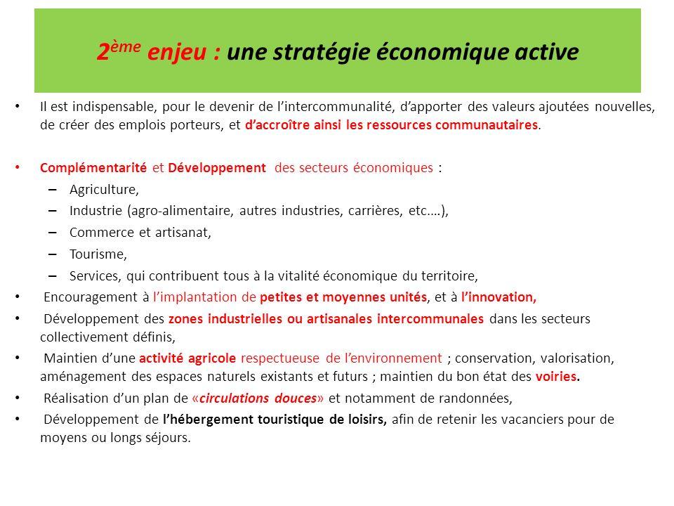 2 ème enjeu : une stratégie économique active Il est indispensable, pour le devenir de lintercommunalité, dapporter des valeurs ajoutées nouvelles, de