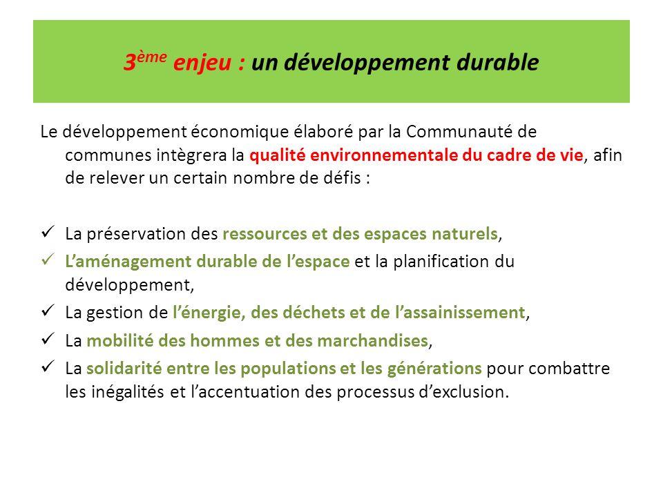 3 ème enjeu : un développement durable Le développement économique élaboré par la Communauté de communes intègrera la qualité environnementale du cadr