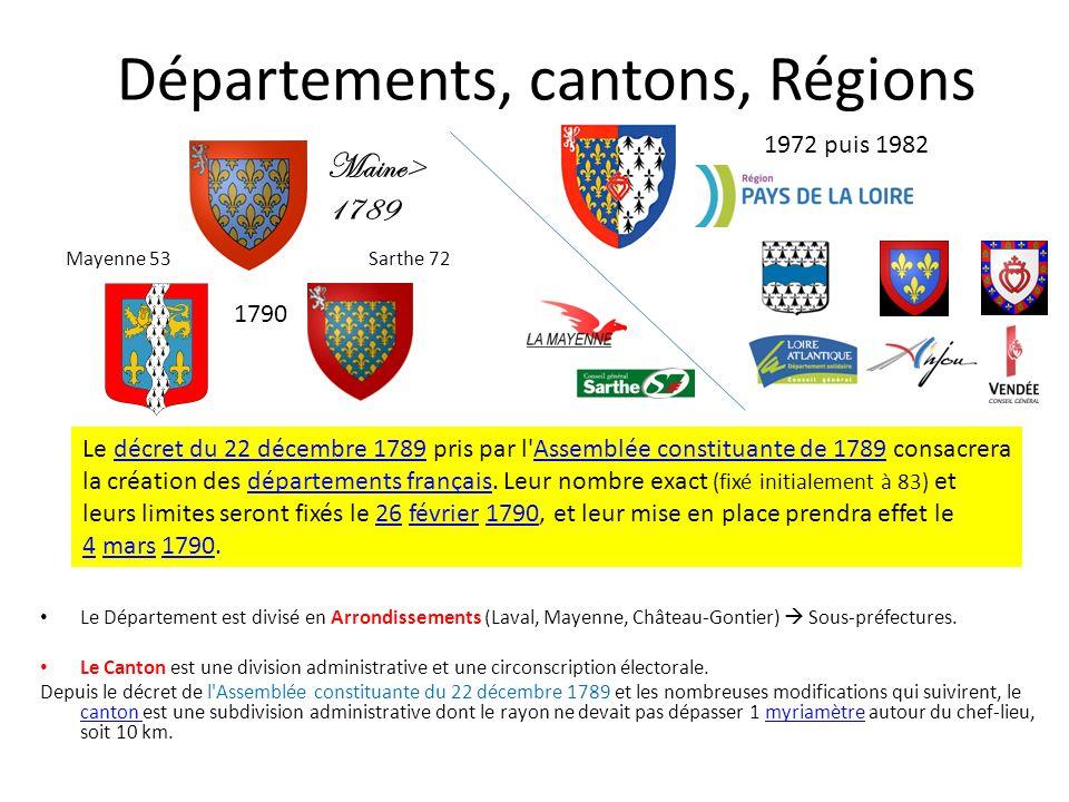 Départements, cantons, Régions Le Département est divisé en Arrondissements (Laval, Mayenne, Château-Gontier) Sous-préfectures. Le Canton est une divi
