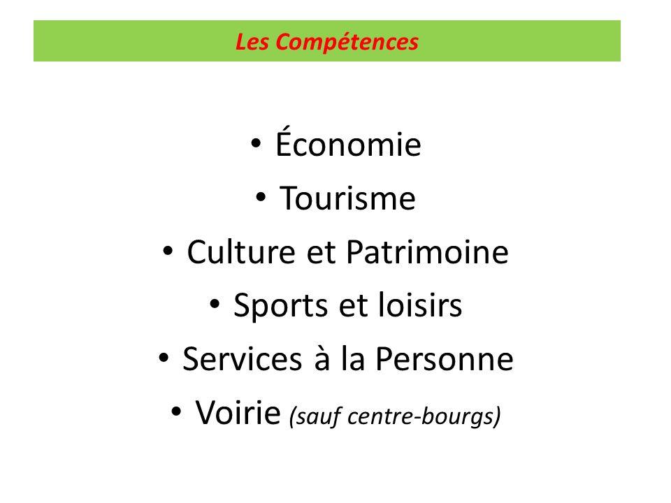 Les Compétences Économie Tourisme Culture et Patrimoine Sports et loisirs Services à la Personne Voirie (sauf centre-bourgs)