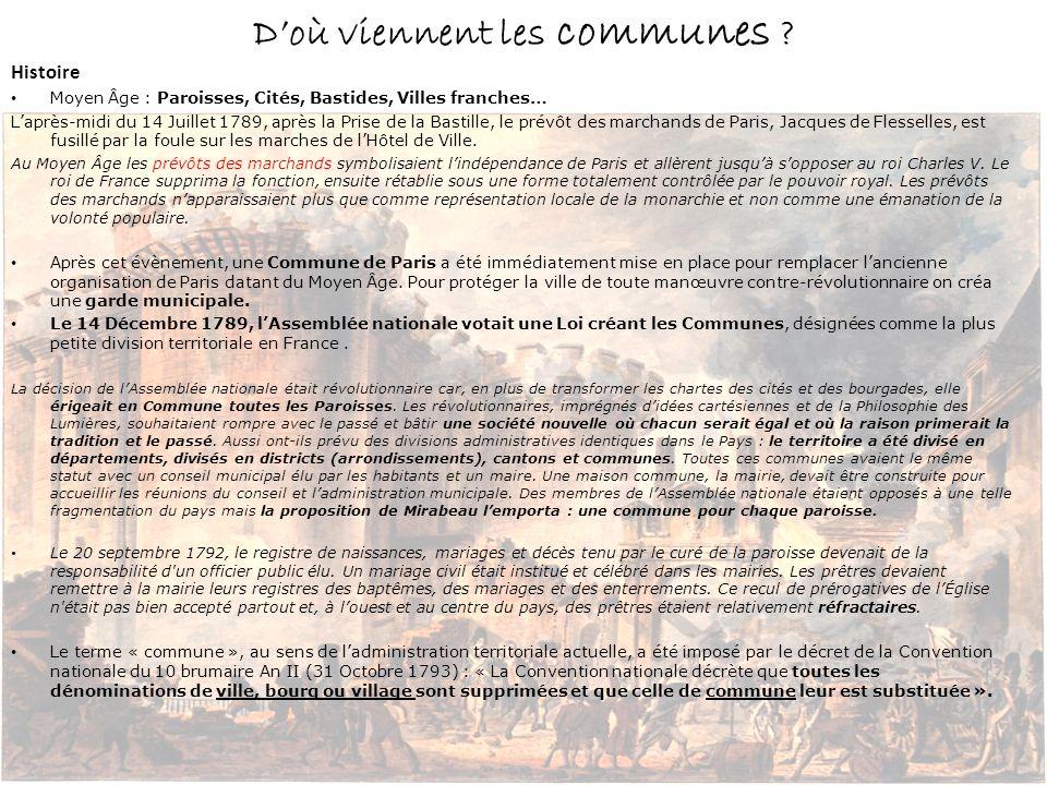 Histoire Moyen Âge : Paroisses, Cités, Bastides, Villes franches… Laprès-midi du 14 Juillet 1789, après la Prise de la Bastille, le prévôt des marchan