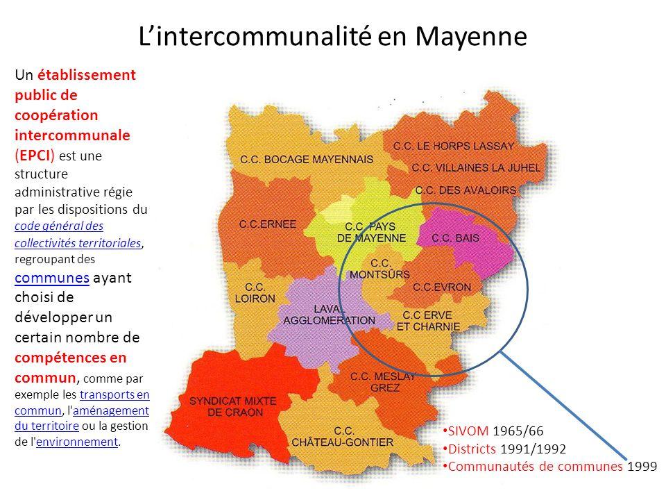 Lintercommunalité en Mayenne SIVOM 1965/66 Districts 1991/1992 Communautés de communes 1999 Un établissement public de coopération intercommunale (EPC