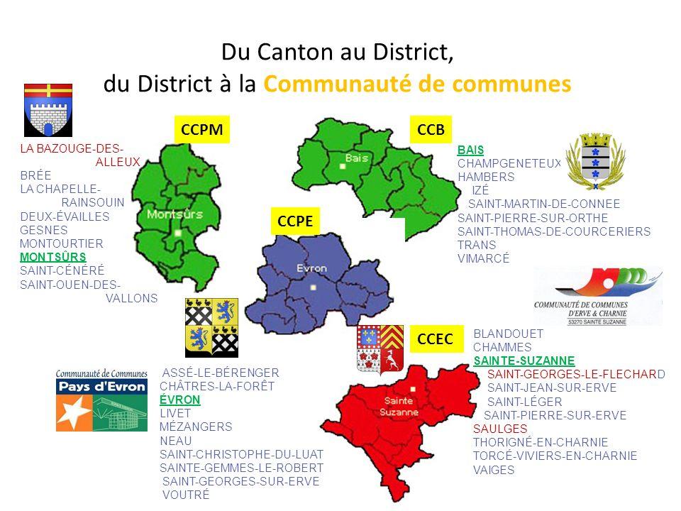 CantonsBaisÉvronMontsûrsSainte-Suzanne Sivom -01/02/1966 (+Livet 1968) nov-65 21/10/1965 District 13/11/199110/06/199124/11/199504/12/1992 - Jublains + Vimarcé - Vimarcé + La Bazouge des Alleuds - Soulgé-sur-Ouette + Saulges 1993 et + St- Georges-le-Fléchard 2004 Communautés de communes CCB BaisCCPE Pays d ÉvronCCPM Pays de MontsûrsCCEC Erve-et-CharnieCCC Coëvrons ComCom 21/12/200119/12/200026/12/200029/06/2000 1/7/2012 .