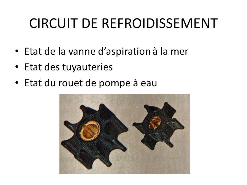 CIRCUIT DE REFROIDISSEMENT Etat de la vanne daspiration à la mer Etat des tuyauteries Etat du rouet de pompe à eau