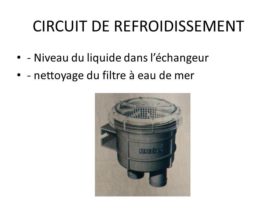 CIRCUIT DE REFROIDISSEMENT - Niveau du liquide dans léchangeur - nettoyage du filtre à eau de mer