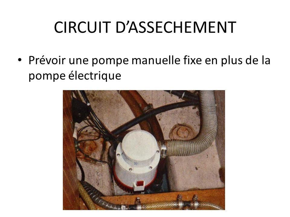 CIRCUIT DASSECHEMENT Prévoir une pompe manuelle fixe en plus de la pompe électrique