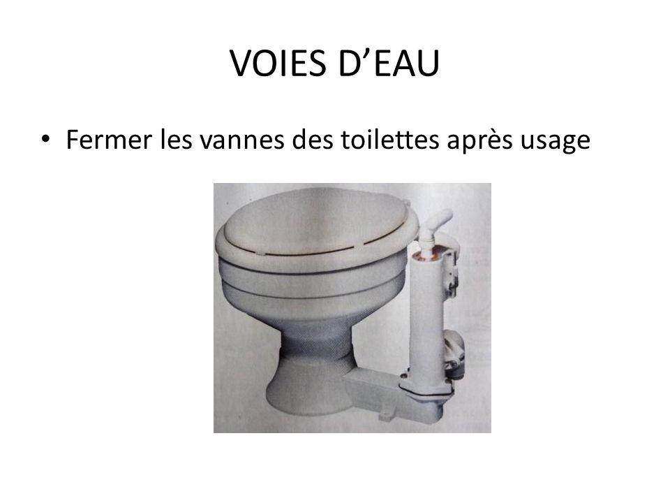 VOIES DEAU Fermer les vannes des toilettes après usage