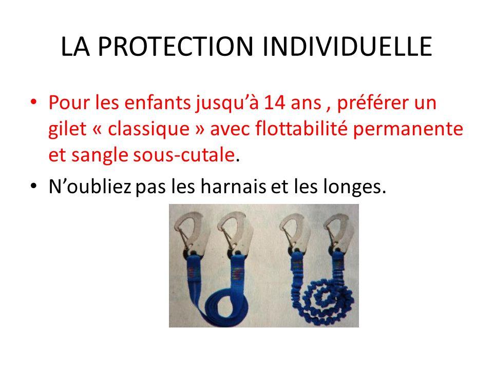 LA PROTECTION INDIVIDUELLE Pour les enfants jusquà 14 ans, préférer un gilet « classique » avec flottabilité permanente et sangle sous-cutale. Noublie