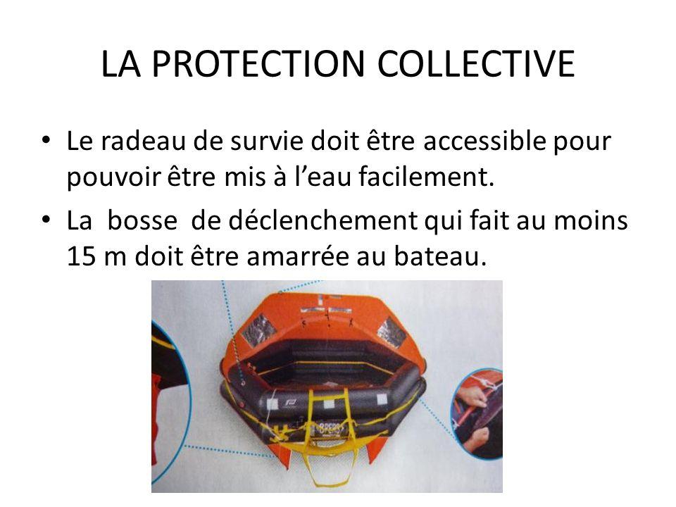 LA PROTECTION COLLECTIVE Le radeau de survie doit être accessible pour pouvoir être mis à leau facilement. La bosse de déclenchement qui fait au moins