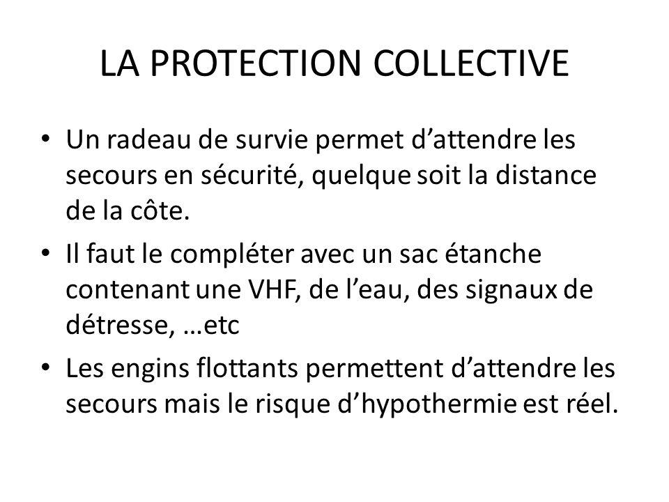 LA PROTECTION COLLECTIVE Un radeau de survie permet dattendre les secours en sécurité, quelque soit la distance de la côte. Il faut le compléter avec