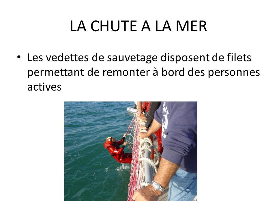 LA CHUTE A LA MER Les vedettes de sauvetage disposent de filets permettant de remonter à bord des personnes actives