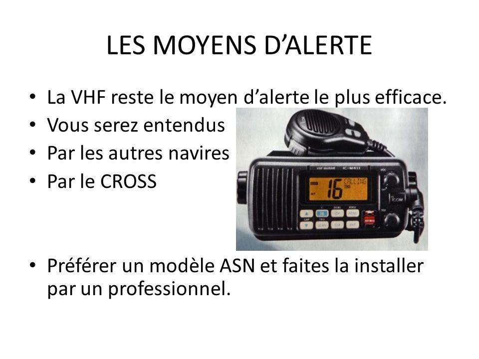 LES MOYENS DALERTE La VHF reste le moyen dalerte le plus efficace. Vous serez entendus Par les autres navires Par le CROSS Préférer un modèle ASN et f
