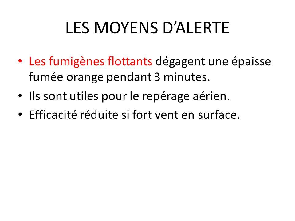 LES MOYENS DALERTE Les fumigènes flottants dégagent une épaisse fumée orange pendant 3 minutes. Ils sont utiles pour le repérage aérien. Efficacité ré