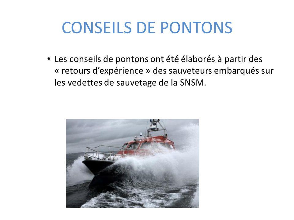 CONSEILS DE PONTONS Les conseils de pontons ont été élaborés à partir des « retours dexpérience » des sauveteurs embarqués sur les vedettes de sauveta