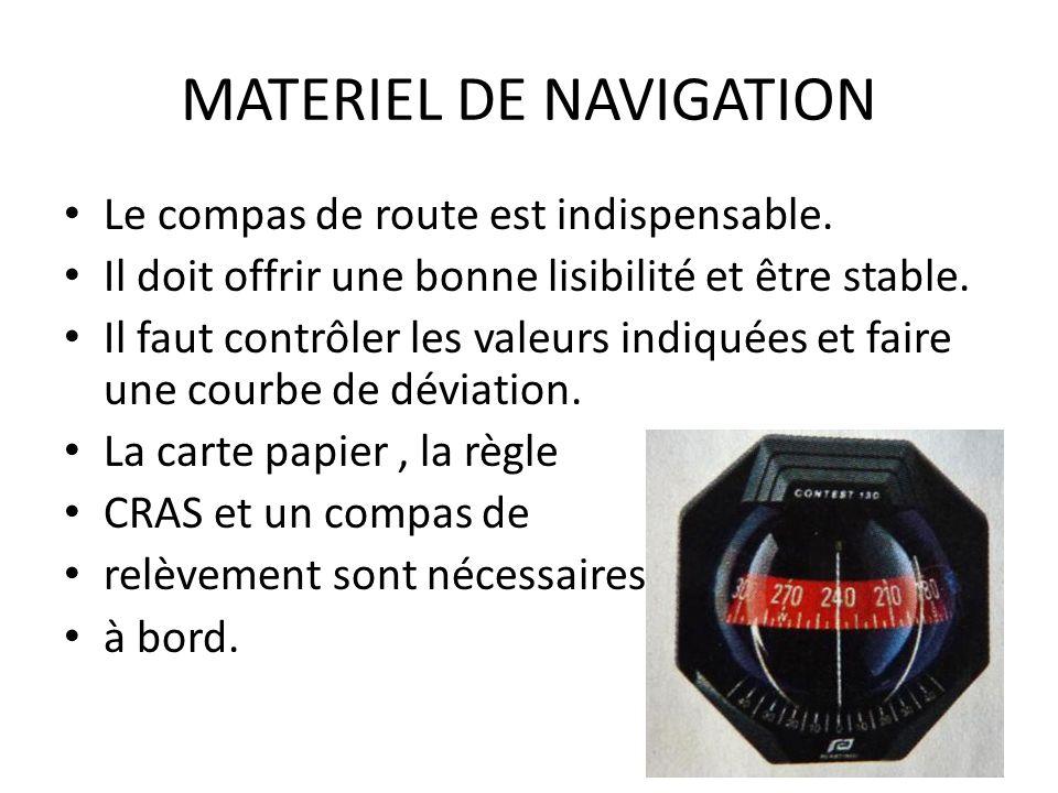 MATERIEL DE NAVIGATION Le compas de route est indispensable. Il doit offrir une bonne lisibilité et être stable. Il faut contrôler les valeurs indiqué