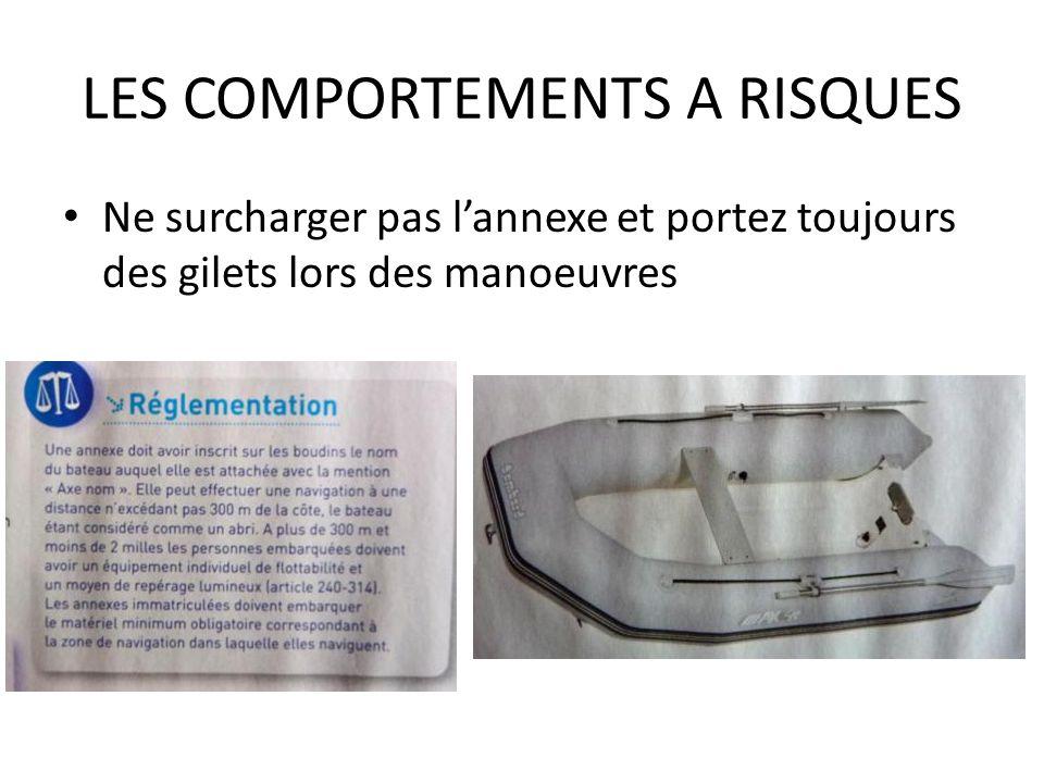 LES COMPORTEMENTS A RISQUES Ne surcharger pas lannexe et portez toujours des gilets lors des manoeuvres