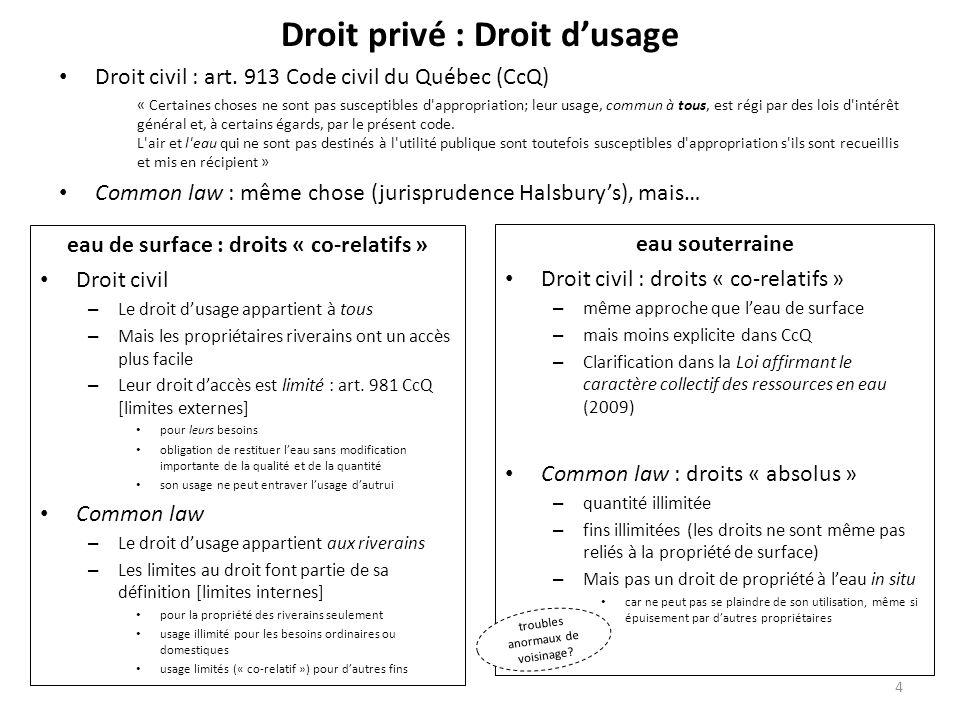 Droit privé : Droit dusage eau de surface : droits « co-relatifs » Droit civil – Le droit dusage appartient à tous – Mais les propriétaires riverains
