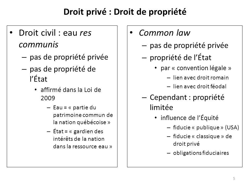 Droit privé : Droit de propriété Droit civil : eau res communis – pas de propriété privée – pas de propriété de lÉtat affirmé dans la Loi de 2009 – Ea