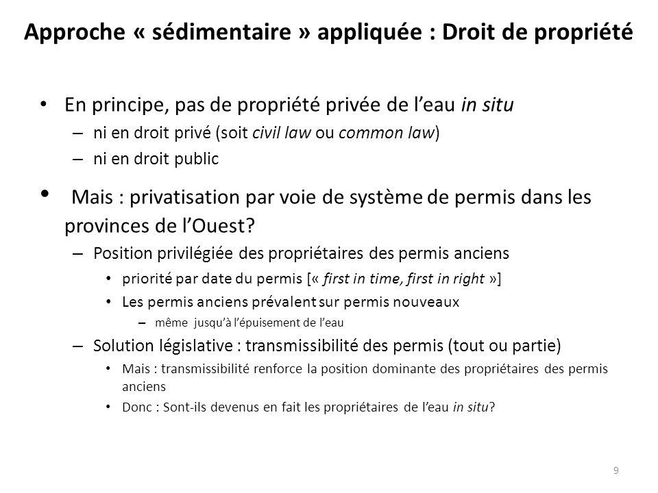 En principe, pas de propriété privée de leau in situ – ni en droit privé (soit civil law ou common law) – ni en droit public Mais : privatisation par
