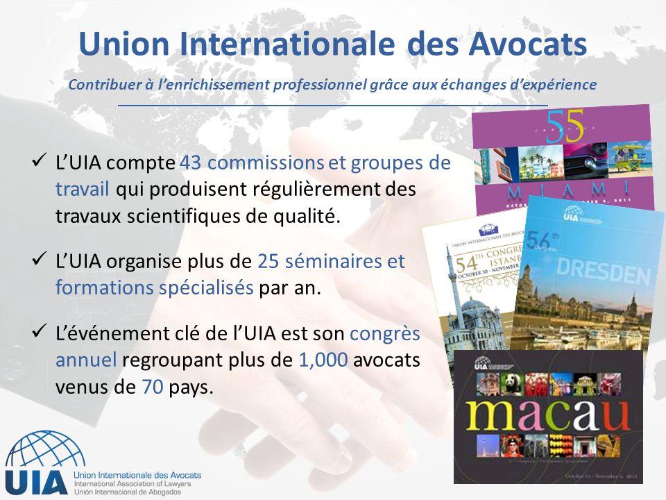 Contribuer à lenrichissement professionnel grâce aux échanges dexpérience Union Internationale des Avocats LUIA compte 43 commissions et groupes de travail qui produisent régulièrement des travaux scientifiques de qualité.