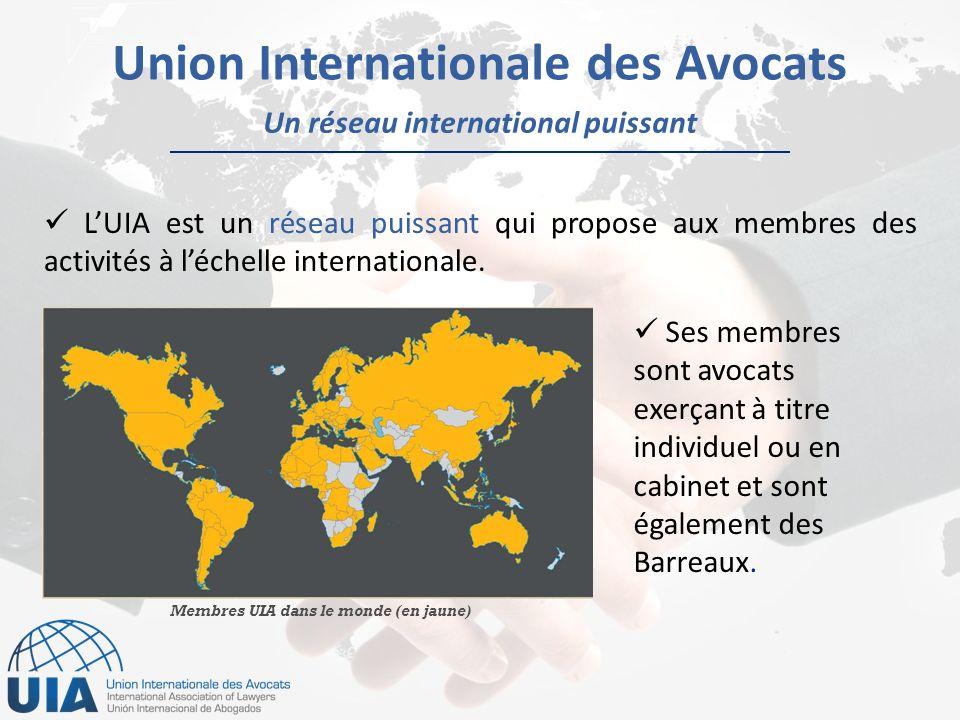 Un réseau international puissant Union Internationale des Avocats LUIA est un réseau puissant qui propose aux membres des activités à léchelle internationale.