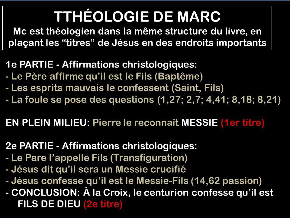 1e PARTIE - Affirmations christologiques: - Le Père affirme quil est le Fils (Baptême) - Les esprits mauvais le confessent (Saint, Fils) - La foule se pose des questions (1,27; 2,7; 4,41; 8,18; 8,21) EN PLEIN MILIEU: Pierre le reconnaît MESSIE (1er titre) 2e PARTIE - Affirmations christologiques: - Le Pare lappelle Fils (Transfiguration) - Jésus dit quil sera un Messie crucifié - Jésus confesse quil est le Messie-Fils (14,62 passion) - CONCLUSION: À la Croix, le centurion confesse quil est FILS DE DIEU (2e titre) TTHÉOLOGIE DE MARC Mc est théologien dans la même structure du livre, en plaçant les titres de Jésus en des endroits importants