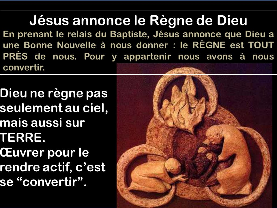 COMENCEMENT EN GALILÉE - 1,14-20 Annonce du Règne, et appel Mc 1,14-20 14 Après que Jean eut été livré, Jésus vint en Galilée. Il proclamait l'Évangil