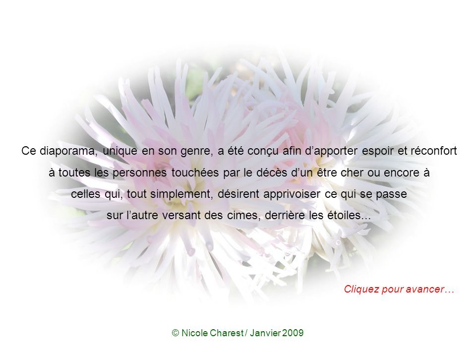 © Nicole Charest / Janvier 2009 Cliquez pour avancer… Si le diaporama ne démarre pas automatiquement, pesez sur F5.