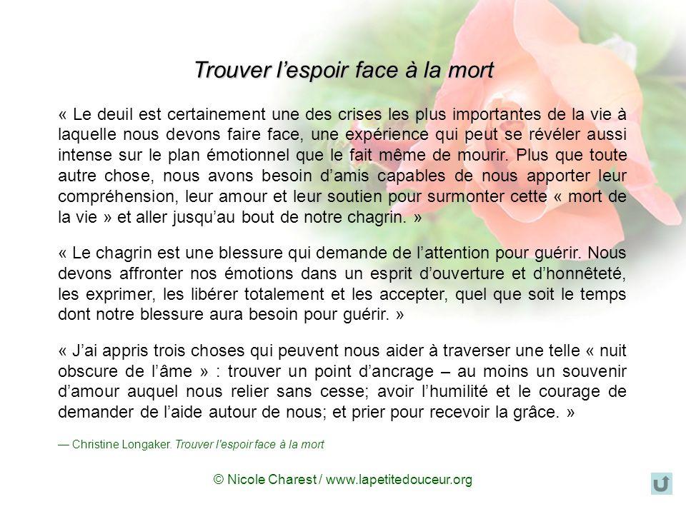 © Nicole Charest / www.lapetitedouceur.org Tout ce que nous navons pu exprimer avant la mort dun être cher peut toujours lêtre après : que ce soit not