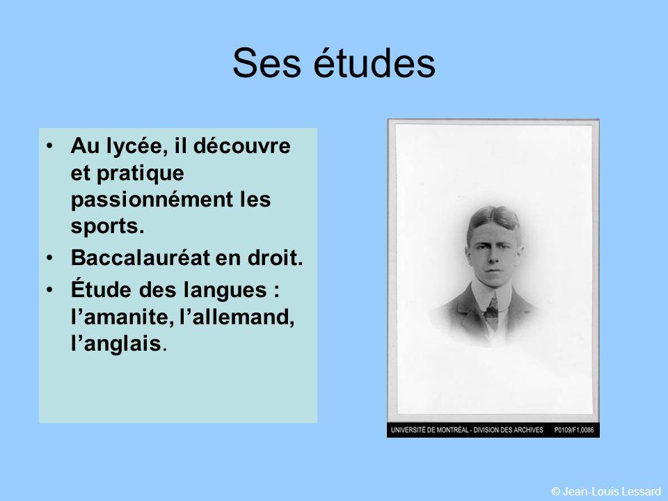 © Jean-Louis Lessard Ses études Au lycée, il découvre et pratique passionnément les sports.