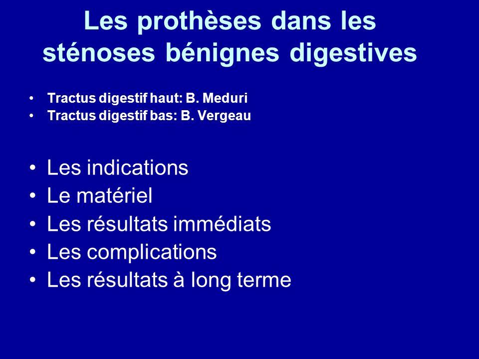 Les prothèses dans les sténoses bénignes digestives Tractus digestif haut: B.