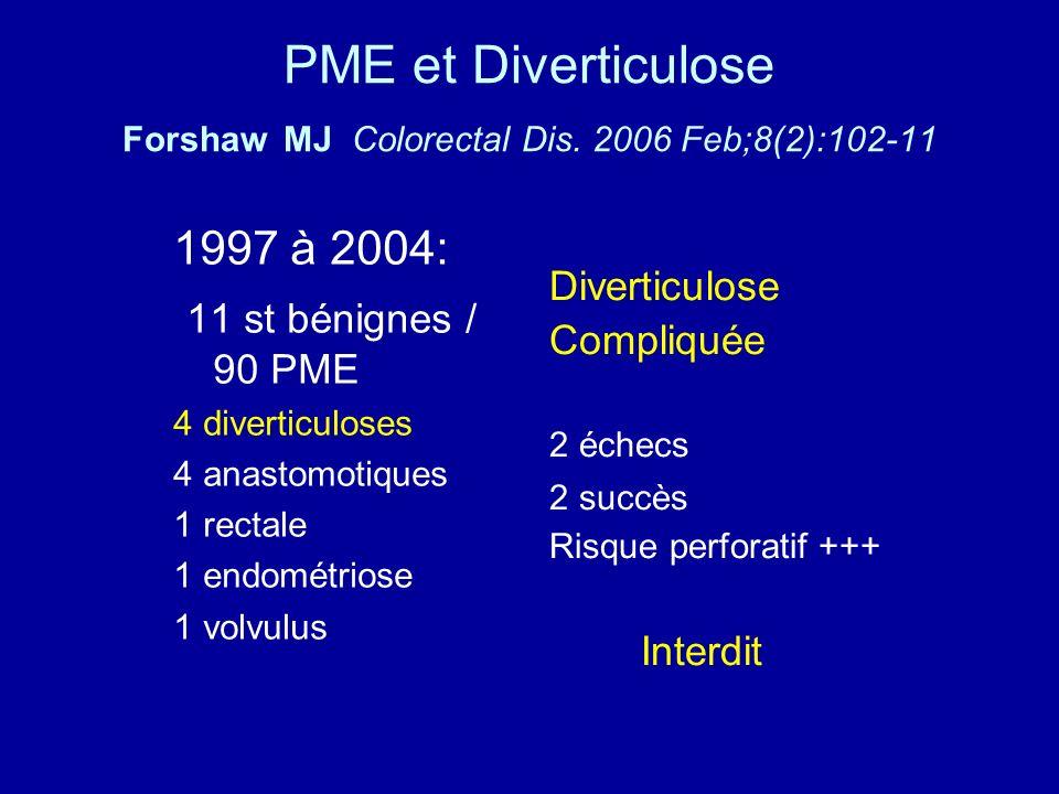 PME et Diverticulose Forshaw MJ Colorectal Dis.