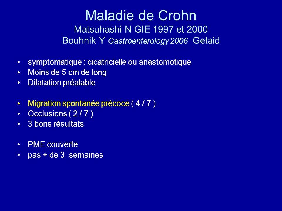 Maladie de Crohn Matsuhashi N GIE 1997 et 2000 Bouhnik Y Gastroenterology 2006 Getaid symptomatique : cicatricielle ou anastomotique Moins de 5 cm de long Dilatation préalable Migration spontanée précoce ( 4 / 7 ) Occlusions ( 2 / 7 ) 3 bons résultats PME couverte pas + de 3 semaines