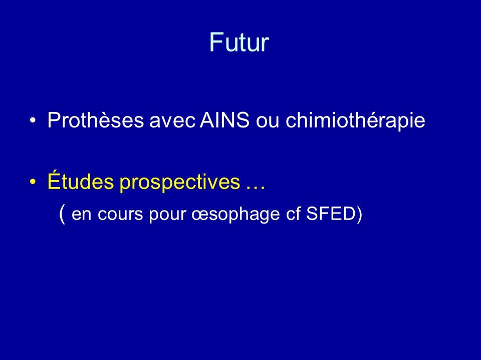 Futur Prothèses avec AINS ou chimiothérapie Études prospectives … ( en cours pour œsophage cf SFED)