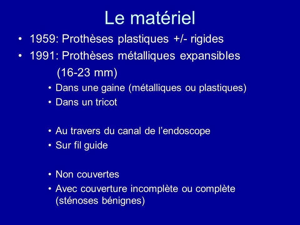 Les prothèses couvertes Ultraflex (8 mm 16-23mm) Choostent (6 mm 18-22 mm) Taewoong ( grillage extérieur) Polyflex (12-14 mm 18-21 mm)