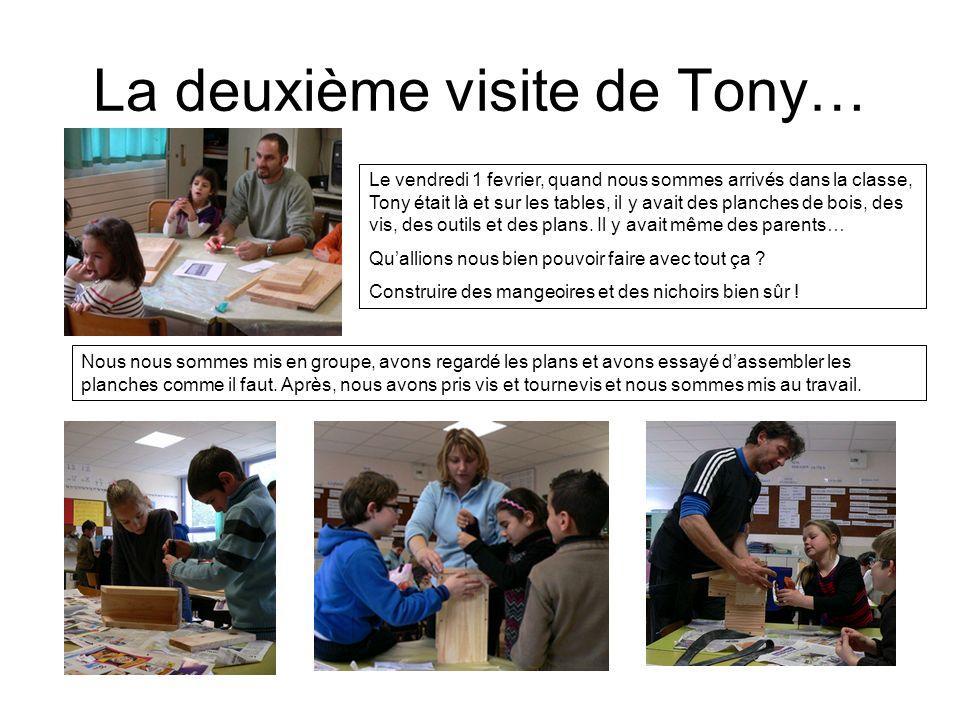 La deuxième visite de Tony… Le vendredi 1 fevrier, quand nous sommes arrivés dans la classe, Tony était là et sur les tables, il y avait des planches