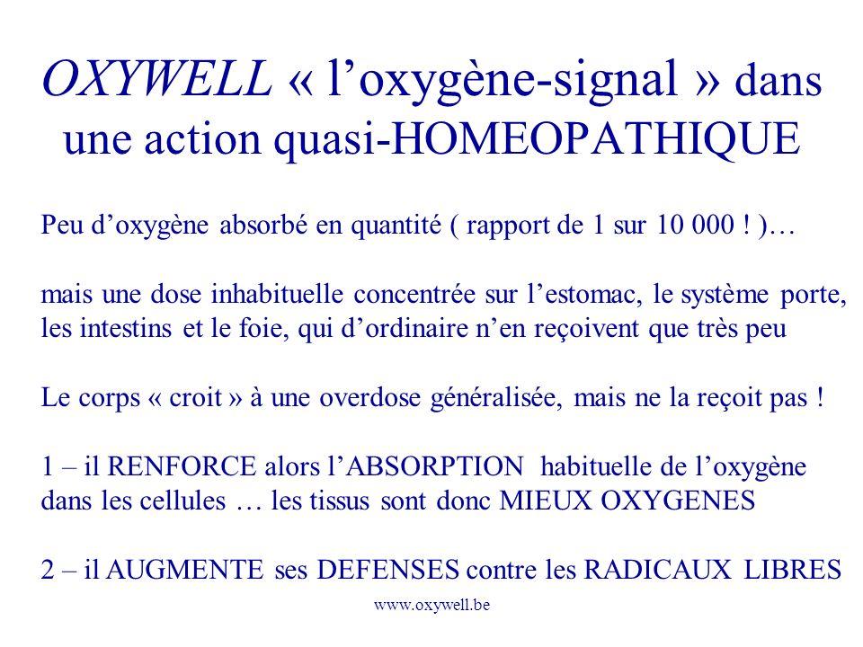 www.oxywell.be OXYWELL « loxygène-signal » dans une action quasi-HOMEOPATHIQUE Peu doxygène absorbé en quantité ( rapport de 1 sur 10 000 ! )… mais un