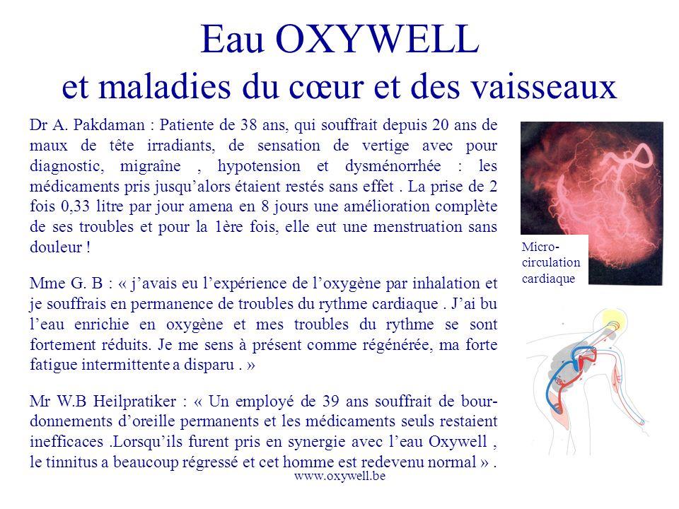 www.oxywell.be Eau OXYWELL et maladies du cœur et des vaisseaux Micro- circulation cardiaque Dr A. Pakdaman : Patiente de 38 ans, qui souffrait depuis