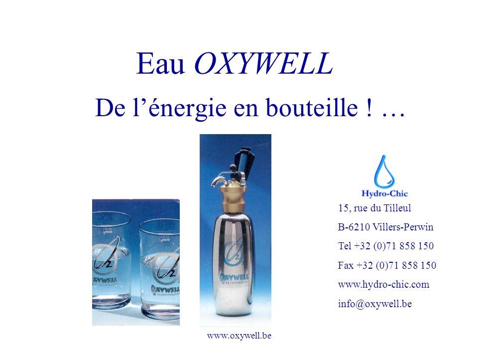 www.oxywell.be Eau OXYWELL De lénergie en bouteille ! … 15, rue du Tilleul B-6210 Villers-Perwin Tel +32 (0)71 858 150 Fax +32 (0)71 858 150 www.hydro