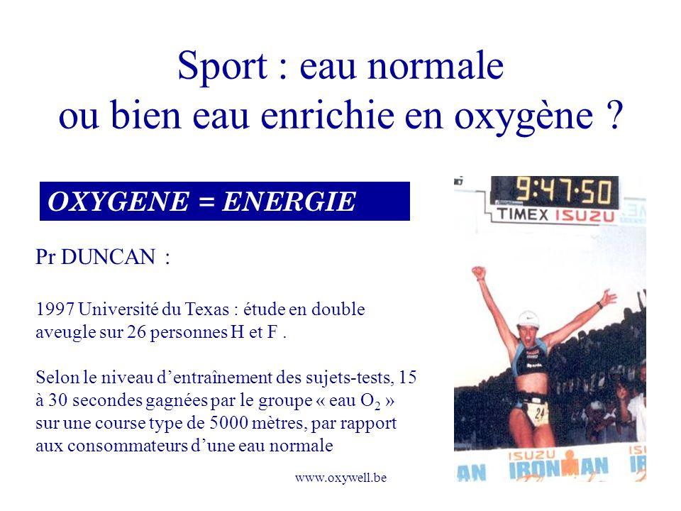 www.oxywell.be Sport : eau normale ou bien eau enrichie en oxygène ? OXYGENE = ENERGIE Pr DUNCAN : 1997 Université du Texas : étude en double aveugle