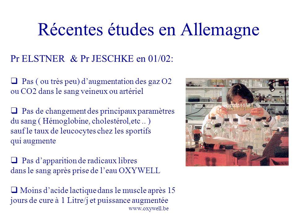www.oxywell.be Récentes études en Allemagne Pr ELSTNER & Pr JESCHKE en 01/02: Pas ( ou très peu) daugmentation des gaz O2 ou CO2 dans le sang veineux
