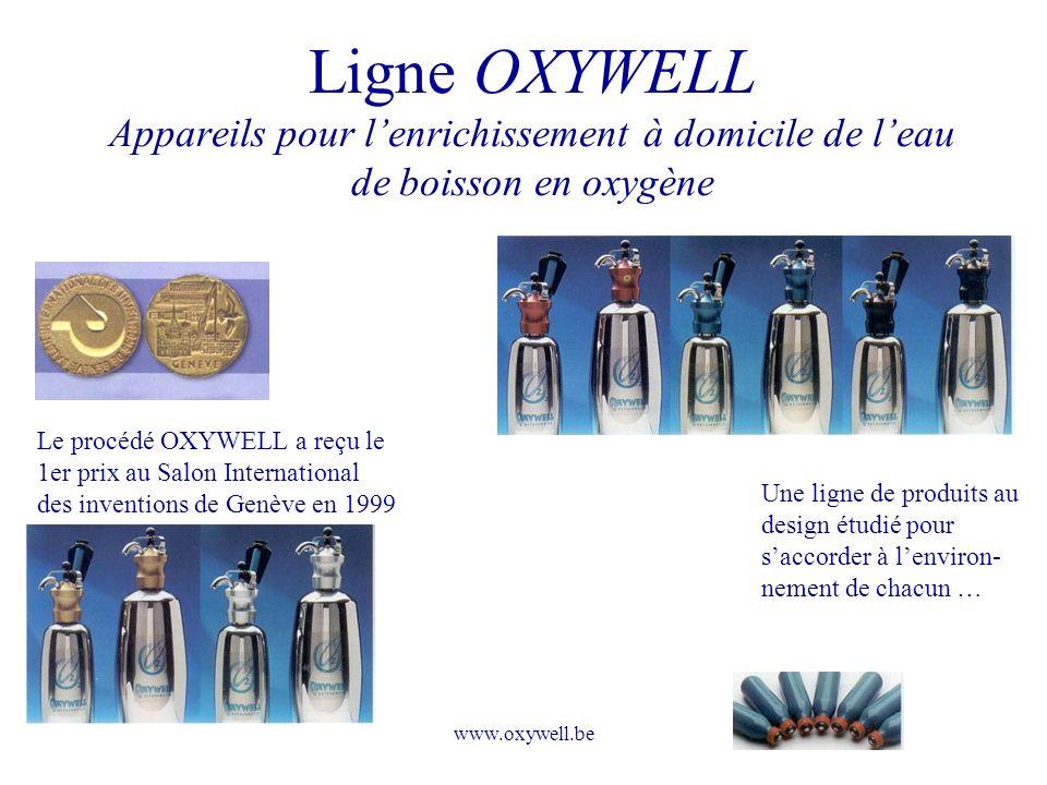 www.oxywell.be Ligne OXYWELL Appareils pour lenrichissement à domicile de leau de boisson en oxygène Le procédé OXYWELL a reçu le 1er prix au Salon In