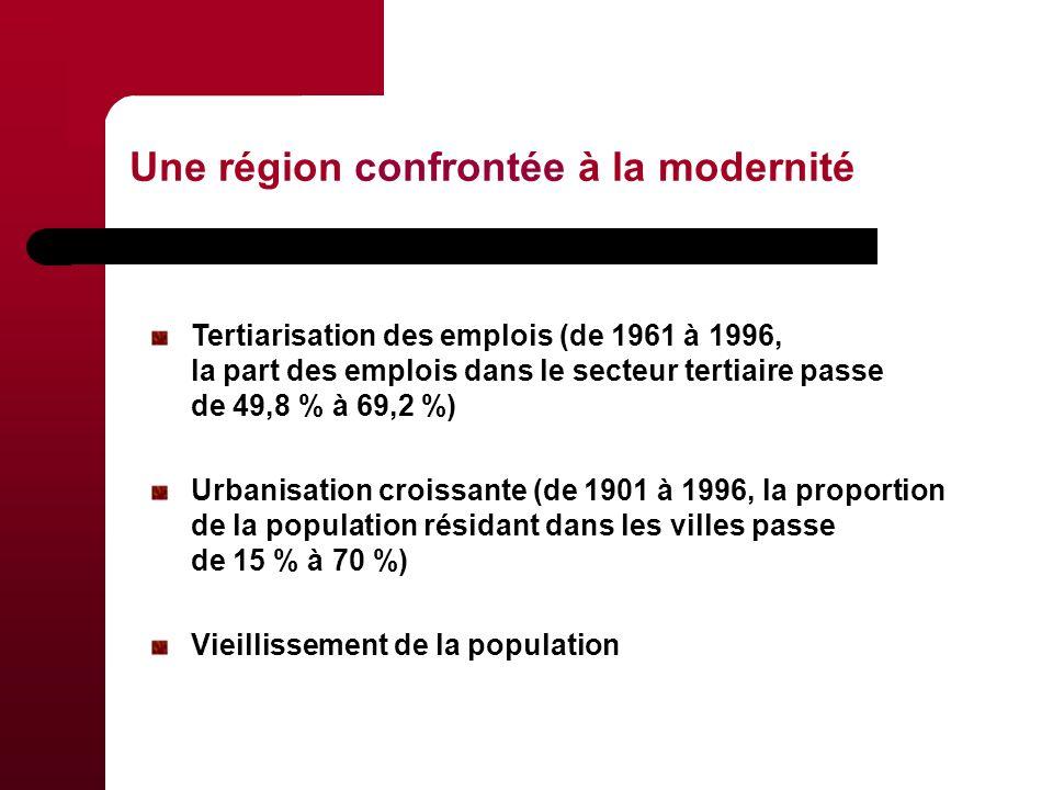 Une région confrontée à la modernité Tertiarisation des emplois (de 1961 à 1996, la part des emplois dans le secteur tertiaire passe de 49,8 % à 69,2 %) Urbanisation croissante (de 1901 à 1996, la proportion de la population résidant dans les villes passe de 15 % à 70 %) Vieillissement de la population