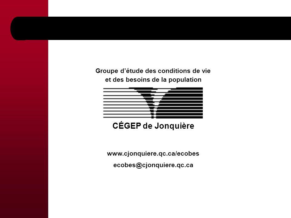 Groupe détude des conditions de vie et des besoins de la population CÉGEP de Jonquière www.cjonquiere.qc.ca/ecobes ecobes@cjonquiere.qc.ca