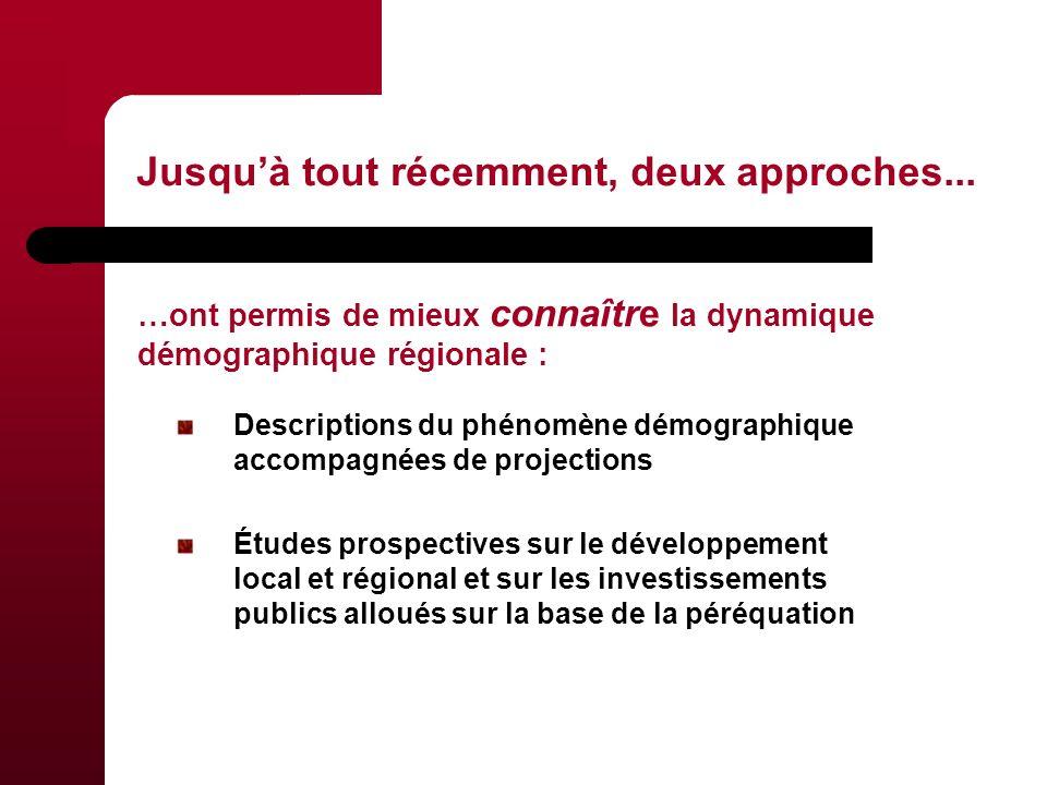 Descriptions du phénomène démographique accompagnées de projections Études prospectives sur le développement local et régional et sur les investissements publics alloués sur la base de la péréquation Jusquà tout récemment, deux approches...