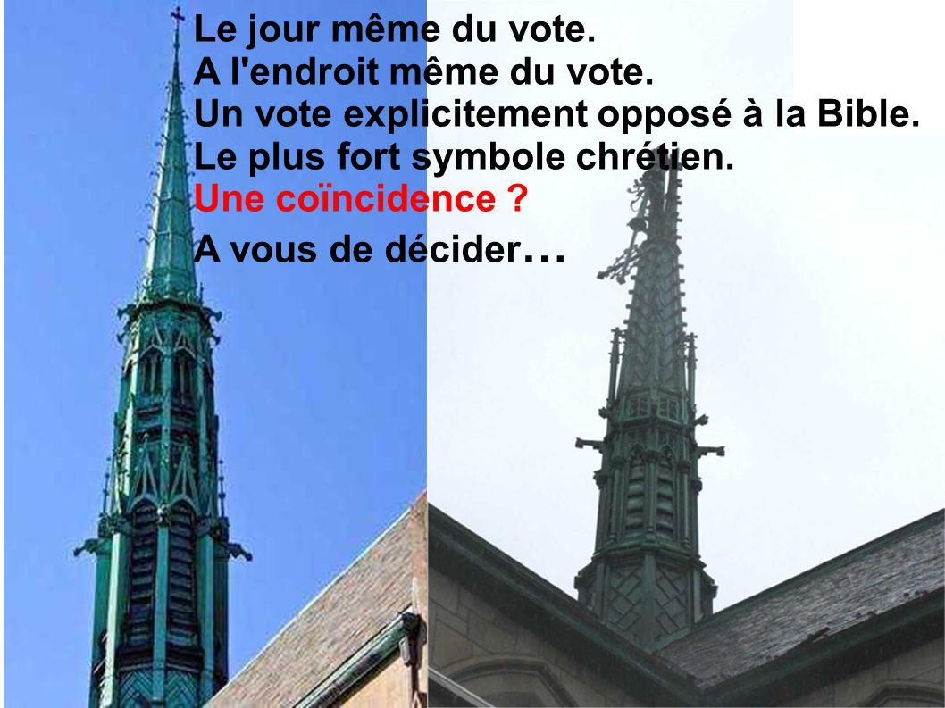 ...la Croix du clocher, en place depuis la construction de cette église fut renversée .