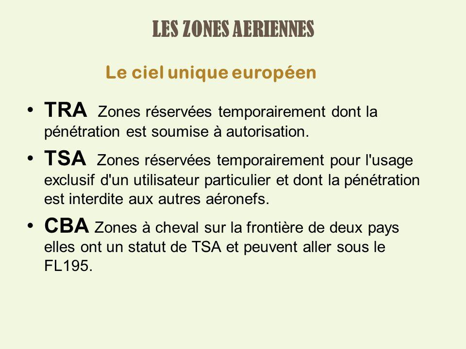 LES ZONES AERIENNES TRA Zones réservées temporairement dont la pénétration est soumise à autorisation.