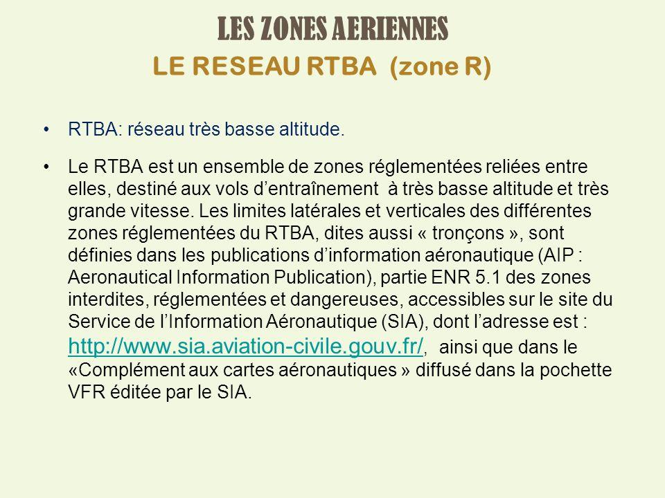 LES ZONES AERIENNES RTBA: réseau très basse altitude.