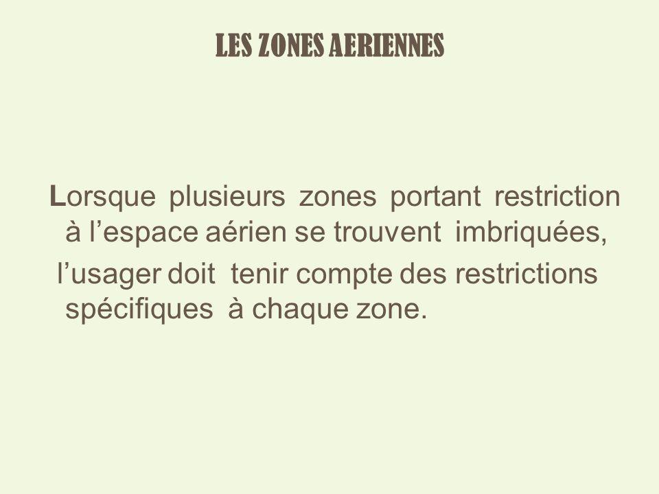 LES ZONES AERIENNES Lorsque plusieurs zones portant restriction à lespace aérien se trouvent imbriquées, lusager doit tenir compte des restrictions spécifiques à chaque zone.