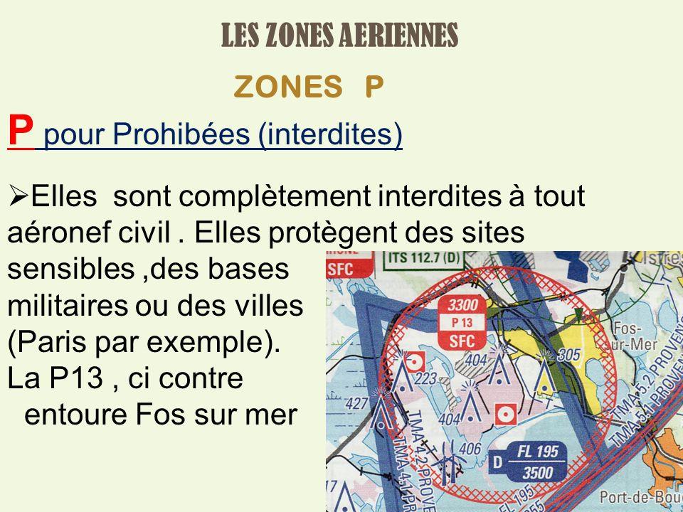 LES ZONES AERIENNES ZONES P P pour Prohibées (interdites) Elles sont complètement interdites à tout aéronef civil.